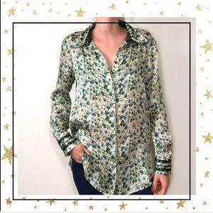 NWT Zara Basic Women's Sm Green Floral blouse (C3)